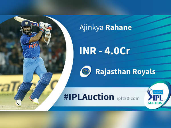Ajinkya Rahane sold out to RR in IPL auction 2018