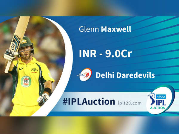 Glenn Maxwell sold out to DD in IPL auction 2018
