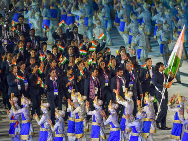 Asian Games Ceremony India Parade With Neeraj Chopra In Front