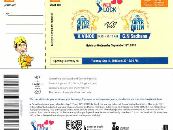 Csk Fan Designed His Wedding Invitation Like Csk Match Ticket Going Viral