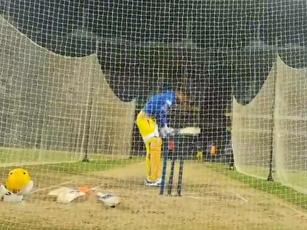 Csk Captain Dhoni Practicing Net