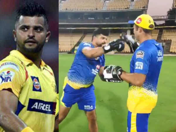 Suresh raina tries his hand at boxing in chennai