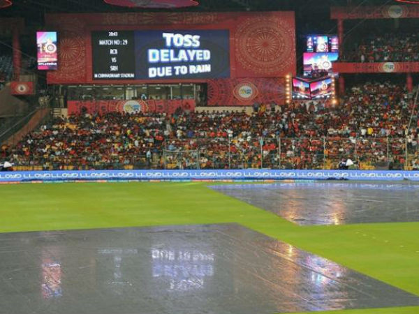Match between royal challengers and rajasthan royals delaying due to heavy rain