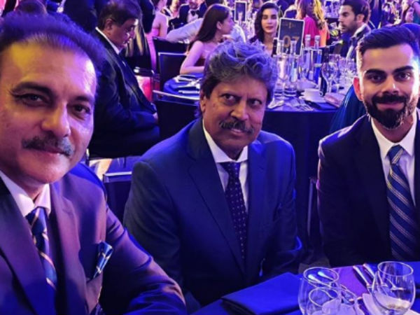 "World cup 2019 : Ravi Shastri shared a ""about last night"" picture with Kapil Dev, Virat Kohli"