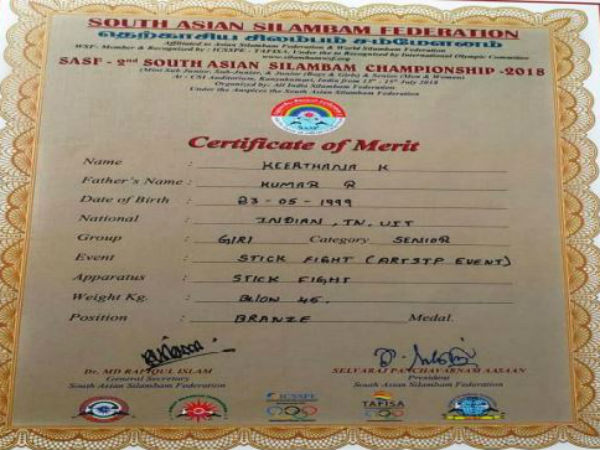 Erode girl Keerthana is struggling to pay fees to participate in Silambam world cup 2019