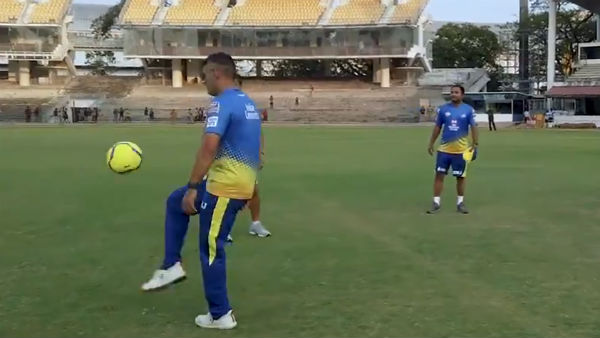 MS Dhoni Enjoys Football Session At Chennai Super Kings Training