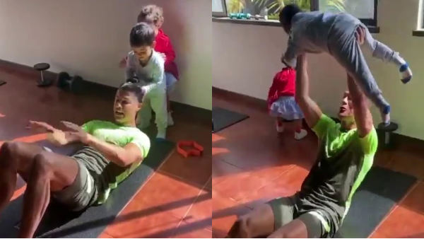 Cristiano Ronaldo And His Kids In Gym