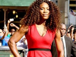 Sports Serena Makes Racquet Slinky Red Dress And 4000 Crystal
