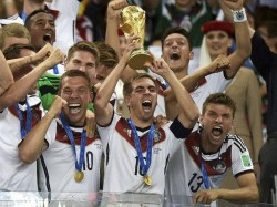 Germany Damage World Cup Trophy During Celebrations Berlin