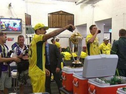 Mitchell Johnson Puts Liquor On World Cup Trophy 2015 Gets Controversial Pics