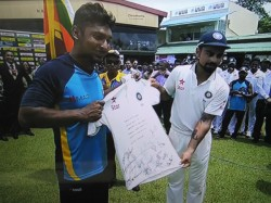 India Captain Virat Kohli Presents His Test Jersey Kumar Sangakkara