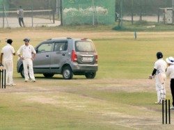 Man Delhi Drove His Car Onto The Pitch During Cricket Match