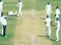 Vidarbha Player Lies Pain After Being Hit A Bouncer Ranji Trophy