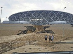 Rain Damages World Cup Stadium Russia