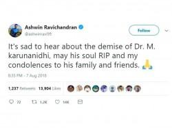 Cricket Players Mourns Karunanidhi