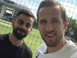 Virat Kohli Meets Harry Kane Twitter Mocks Ind Captain As A Kohli Curse