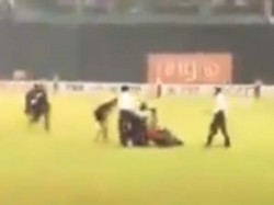 Srilankan Player Mendis Falls Off Bike In Inside Premadasa Stadium In Colombo
