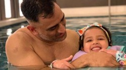 Ziva Becomes A Baby Shark Inside A Pool Along With Dhoni And Panyda
