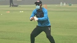 Ind Vs Ban Liton Das Practiced With Mask Due To Delhi Air Pollution