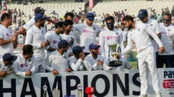Ind Vs Ban Reserve Wicket Keeper Srikar Bharath Hold The Test Trophy