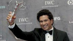 Tendulkar Received The Laureus Award From Former Australia Captain Steve Waugh