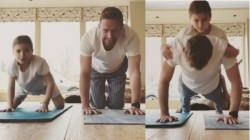 Paul Collingwood Does Yoga With Daughter