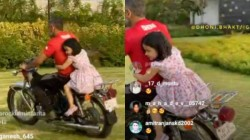 Dhoni Goes Bike Ride With Daughter
