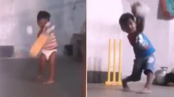 Kid With Diaper Playing Beautiful Cricket Shots Is Trending